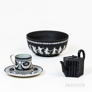 Wedgwood Black Jasper Dip Bowl, Cup, Saucer and Black Teapot