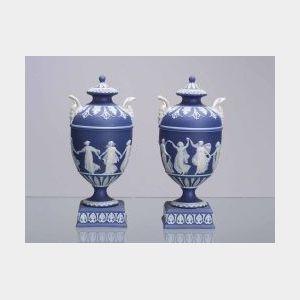 Pair of Wedgwood Dark Blue Jasper Dip Vases and Covers