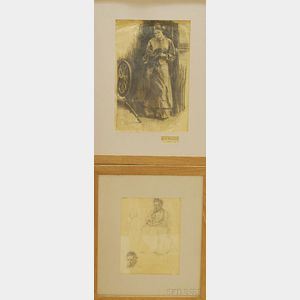 American School, 19th/20th Century      Lot of Two Framed Figural Drawings: Studies of a Seated Old Woman