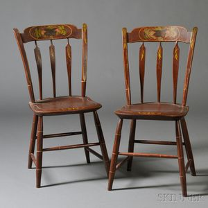Pair of Paint-decorated Tablet and Arrow-back Windsor Side Chairs