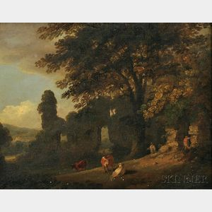 Attributed to Julius Caesar Ibbetson (British, 1759-1817)      Cows and Farmers Amidst Ruins