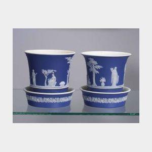 Pair of Wedgwood Dark Blue Jasper Dip Cache Pots and Undertrays