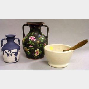 Wedgwood Mortar and Pestle, Dark Blue Jasper Dip Portland Vase, and an Enamel Floral Decorated Basalt Two-Handled Vase.