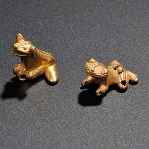 Two Central American Pre-Columbian Gold Frog Pendants