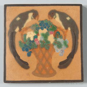 Decorated Marblehead Pottery Tile