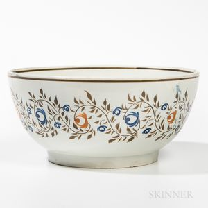 Pearlware Painted Hemispherical Bowl