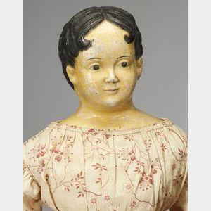 Large Early Papier Mache Shoulder Head Doll