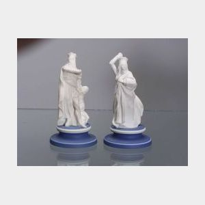 Two Wedgwood White Jasper Chess Figures