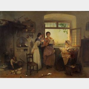 Sold for: $237,000 - Gerolamo Induno (Italian, 1827-1890)    Hearing the News of the Day