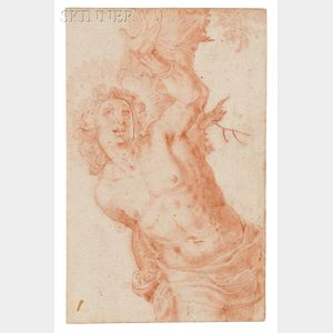 Italian School, 17th  Century      Two Unsigned Drawings:   Kneeling Man with a Rope