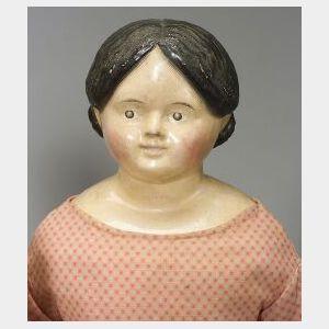 Large Papier Mache Shoulder Head Doll