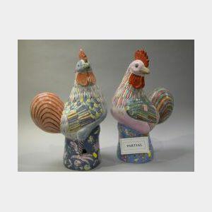 Set of Three Chinese Enamel Decorated Porcelain Gamecocks.