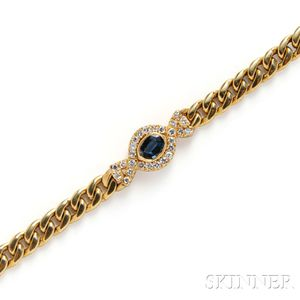 18kt Gold, Sapphire, and Diamond Bracelet