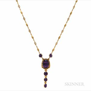 Gold, Amethyst, and Diamond Pendant Necklace