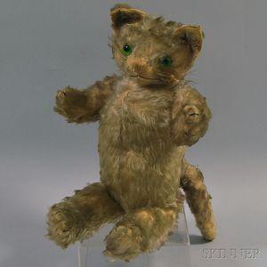 Vintage Stuffed Mohair Upright Cat