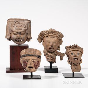 Four Veracruz Head Fragments