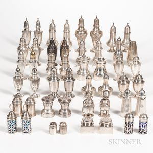Large Group of Sterling Silver Salt and Pepper Shakers