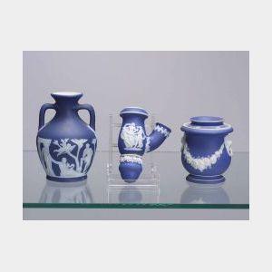 Three Small Wedgwood Dark Blue Jasper Dip Items