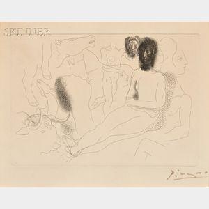 Pablo Picasso (Spanish, 1881-1973)      Nu assis entouré d'esquisses de bêtes et d'hommes