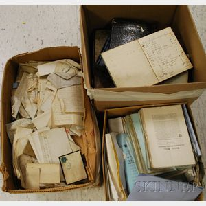 Three Boxes of Miscellaneous 18th and 19th Century Papers, Pamphlets, Newspapers, and Ephemera.