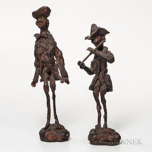 Two Burl Figures of Musicians