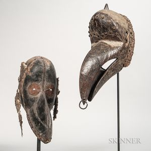 Two Dan-style Carved Wood Bird Masks