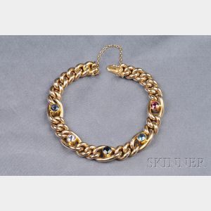 15kt Gold Gem-set Bracelet