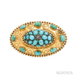 Victorian 15kt Gold and Turquoise Brooch