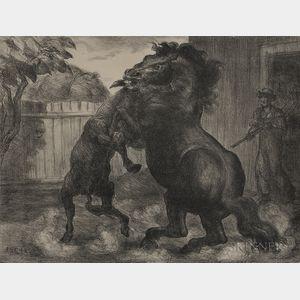 John Steuart Curry (American, 1897-1946)      Stallion and Jack Fighting