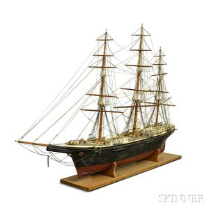Monumental Carved and Painted Ship Model