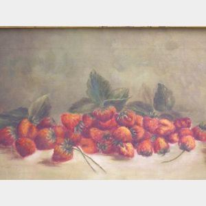 Framed Oil on Canvas Still Life of Strawberries