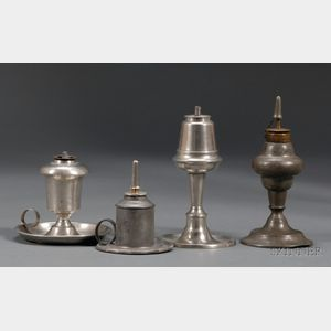 Four Pewter Lamps