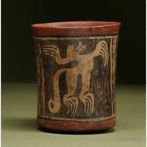 Pre-Columbian Painted Pottery Cylinder