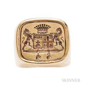 Large 18kt Gold Seal Ring