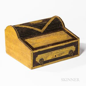 Yellow and Black-painted Tambour Lap Desk