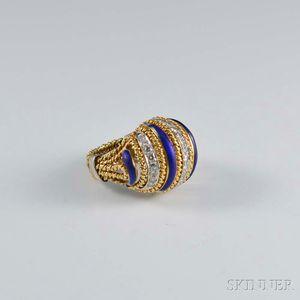 18kt Gold, Diamond, and Enamel Ring
