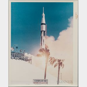 Apollo 7 Liftoff, Kennedy Space Center, Florida, October 11, 1968, Two Images.