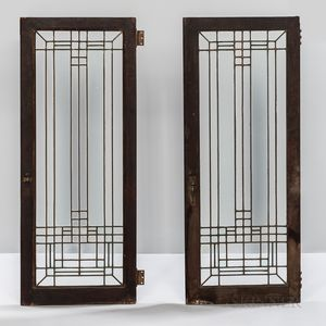 Two Frank Lloyd Wright-style Leaded Glass Windows