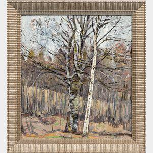 Vecheslav Frantsevich Zagonek (Russian, 1919-1994)      Landscape with Birches