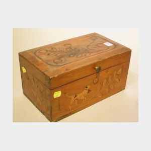 Floral and Dog Inlaid Cherry Document Box.