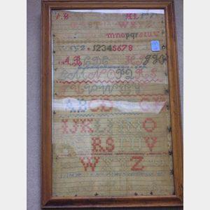 Framed 1850 Sarah E. Mellows Needlework Sampler.