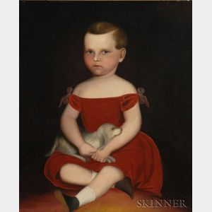 American School, Mid-19th Century    Portrait of a Boy in a Red Dress with His Dog, 1840-1850.