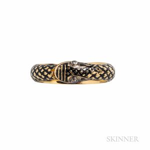 Antique 18kt Gold and Enamel Memorial Snake Ring