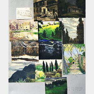 Frank Simon Hermann (American, 1866-1942)      Twelve Works on Paper, Primarily American and European Landscapes