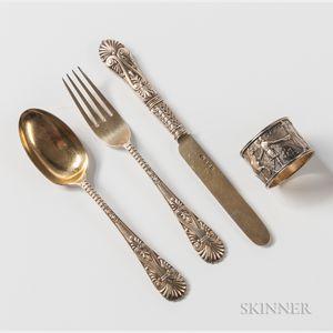 Four-piece Edward VII Sterling Silver-gilt Child's Dining Set