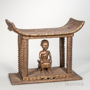 Ashanti-style Brass-clad Wood Stool