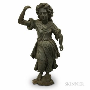 Carved Wood Figure of a Girl