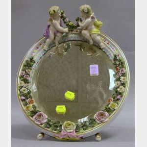 Dresden Porcelain Cupid and Floral Encrusted Table Mirror.