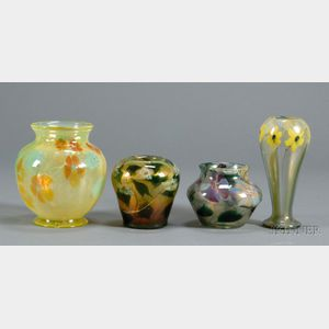 Four Tiffany Paperweight Vases