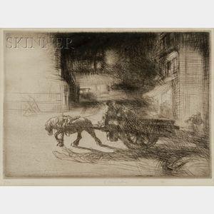 Edmund Blampied (British, 1886-1966)      The Weary Cart Horse